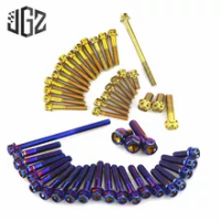 Motorcycle Stainless Steel Bluing Gold Engine Screws Nut Set Cover Bolt Accessories for Honda Click 125 2015 2016 2017 2018 2019