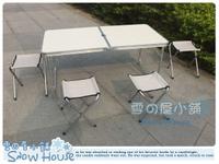 ╭☆雪之屋小舖☆╯@特價優惠@加固型高級鋁合金折合桌折疊桌收納露營野餐桌椅 (一桌四椅)