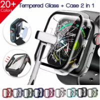 Slim Fit Case for Apple Watch Series 6 SE 5 4 3 Tempered Glass Screen Protector PC Bumper Case for IWatch 6 40 44 38 42mm Band
