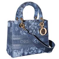 Dior 中款藍色 Dior Flowers 繡花牛仔布Lady D-Lite 2用包