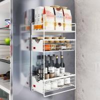 冰箱置物架側收納神器壁掛式免打孔磁吸多功能磁鐵抽屜廚房調料架 【安逸居家】