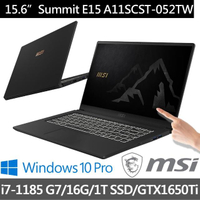 MSI 微星【贈藍牙耳機】Summit E15 A11SCST-052TW 15吋商務觸控筆電(i7-1185 G7/16G/1T SSD/GTX1650Ti-4G)