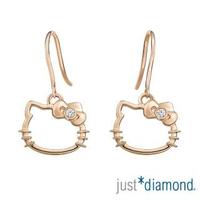 【Just Diamond】18K玫瑰金鑽石耳環-Hello Kitty 愛戀貓語