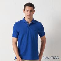 【NAUTICA】男裝 經典款素色短袖POLO衫(寶藍)