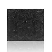 【COACH】經典款 男短夾 真皮浮雕花紋零錢袋短夾-黑色(F75363)