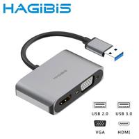 【HAGiBiS海備思】USB3.0轉HDMI/VGA/USB三代影音轉接器