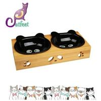 **免運**竹製雙碗 黑熊貓陶瓷碗組 寵物造形碗組 斜口碗架 保護寵物頸椎 陶瓷貓碗 可微波