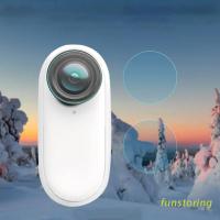 FUN QUU 適用於Insta360 GO 2保護膜的2合1 LCD顯示屏保護膜PET膜和鋼化玻璃鏡片屏幕保護膜