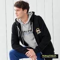 【NAUTICA】COMPETITION經典素色連帽長袖外套(黑色)