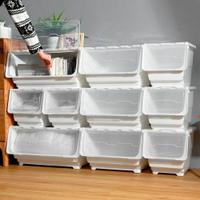 Mr.box【024106】59大面寬典雅斜口上掀式可堆疊附輪加厚收納箱(72公升-4入組)-純白、透明,兩款可選