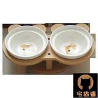 寵物碗 寵物碗陶瓷雙碗保護頸椎貓咪高腳碗斜口食盆可愛傾斜寵物碗架【天天特賣工廠店】