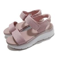 【SKECHERS】涼鞋 D Lux Walker 休閒 女鞋 厚底 輕量 魔鬼氈 膠底 健行 郊遊 粉 白(119226BLSH)