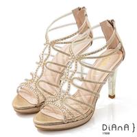 【DIANA】10cm星光銀彩葛麗特環踝電鍍高跟涼鞋-浪漫戀曲(金)