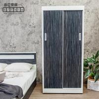 【南亞塑鋼】3.2尺拉門/推門塑鋼衣櫃(鐵刀木色)