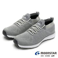 【MOONSTAR 月星】輕量緩震透氣飛織鞋(灰色)