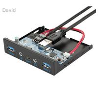 (現貨)☍✓USB3.1 Type-C正反插音頻前置面板臺式電腦3.5寸多功能軟驅面板