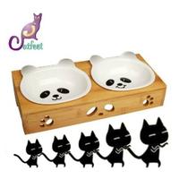 **免運**竹製雙碗 白熊貓陶瓷碗組 寵物造形碗組 斜口碗架 陶瓷貓碗 可微波 保護寵物頸椎