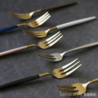 304不銹鋼水果叉家用歐式水果沙拉叉甜品叉創意三齒叉西餐餐具