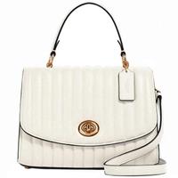 【COACH】Tilly白色皮革立體壓紋掀蓋式手提郵差斜背包