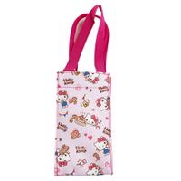 小禮堂 Hello Kitty 方形尼龍保冷水壺袋 保冷杯袋 環保杯袋 飲料杯袋 (桃 鬆餅)