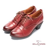 【CUMAR】簡約步調 - 擦色綁帶尖頭粗跟踝靴(紅色)