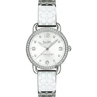 刷卡滿3千回饋5%點數 COACH 水晶手鐲logo錶帶女腕錶/銀/14502765