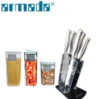 【armada 阿曼達】伊莉莎白五件式刀具附透明刀架座(送儲物罐組)