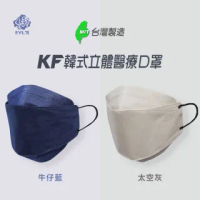 【艾爾絲】3D醫用口罩 KF立體口罩 時尚色系(10入/雙鋼印/牛仔藍、太空灰)
