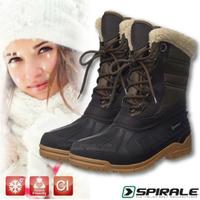 【義大利 SPIRALE】雪之戀 女 TINA 簡約時尚高筒保暖雪靴.雪鞋/可耐至 零下40度(SPI99231 黑/深棕)