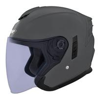 M2R FR-2 安全帽 FR2 素色 水泥灰 內襯可拆 內藏墨鏡 半罩《淘帽屋》