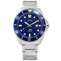 【CASIO 卡西歐】雙錶帶可替換 潛水錶 槍魚系列 藍水鬼 防水 日期 不鏽鋼手錶 藍色 44mm(MDV-106BD-2A)