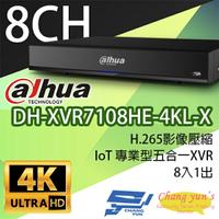 高雄/台南/屏東監視器 DH-XVR7108HE-4KL-X H.265 8路五合一XVR 大華dahua 監視器主機