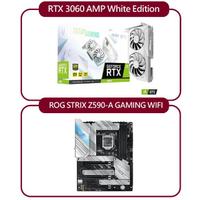 【ZOTAC 索泰】RTX3060 AMP White Edition+華碩 ROG STRIX Z590-A GAMING WIFI(限制算力)