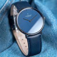 【Nordgreen】ND手錶 Native 本真 40mm 深空灰殼×藍面 北歐藍真皮錶帶(NR40GMLENANA)