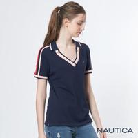 【NAUTICA】女裝V領造型短袖POLO衫(深藍)