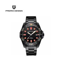 【PAGANI DESIGN】經典機械水鬼不鏽鋼自動機械錶 PD-1632-黑橘