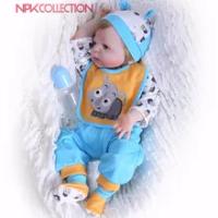 NPK 57 Cm Full Body Silikon Anak Reborn Bayi Boneka Mainan Pangeran Bayi Boneka Wig Rambut Hadiah Ulang Tahun Anak-anak Brinquedos