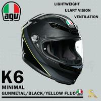 任我行騎士部品 AGV K6 極輕量化 通風 舒適 全新設計 全罩式安全帽 MINIMAL 黑螢光黃 K-6
