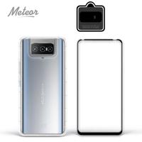 【Meteor】ASUS Zenfone 8 Flip ZS672KS 手機保護超值3件組(透明空壓殼+鋼化膜+鏡頭貼)