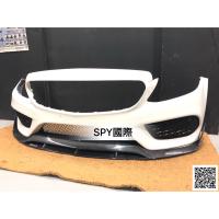 SPY國際 Benz W205 C250 C300 AMG保桿用 B款雙層碳纖維前下巴 卡夢