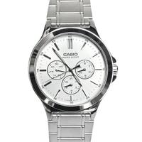 CASIO手錶 亮銀三眼不鏽鋼錶【NEC150】