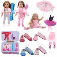 ตุ๊กตาสีชมพูSeriesบัลเล่ต์เสื้อผ้ารองเท้าร่มกระเป๋าเดินทางชุดFitอเมริกัน18นิ้วตุ๊กตาGirl' & 43ซม.เด็...