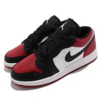 【NIKE 耐吉】休閒鞋 Air Jordan 1 Low GS 女鞋 經典款 AJ1 大童 黑紅腳趾 皮革 穿搭 黑紅(553560-612)