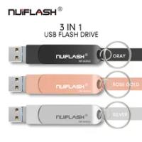 OTG USB 128GB 256GB Flash Drive For iPhone and TypeC phone Pen Drive 8GB 16GB 32GB 64GB Memory Stick for X/8/7/7 Plus/6/6s/5/SE