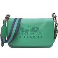 【COACH】馬車壓印全牛皮翻蓋斜背包 郵差包(綠色)