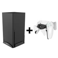 牆壁掛架Xbox Series X 遊戲機主機懸掛架手柄耳機支架 XBOX Series X收納底座 黑色【XBOX主機