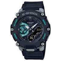 刷卡滿3千回饋5%點數 CASIO 卡西歐 GA-2200M-1A / G-SHOCK系列 戶外冒險雙顯手錶 / 黑+藍綠 47mm