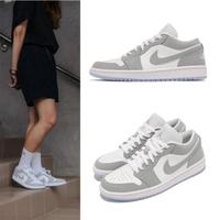 【NIKE 耐吉】休閒鞋 限量 W Air Jordan 1代 女鞋 小Dior 低筒 喬丹 AJ1 果凍底 白 灰(DC0774-105)