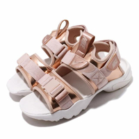 【NIKE 耐吉】涼拖鞋 Canyon Sandal 穿搭 女鞋 魔鬼氈 簡約 夏日 輕便 舒適 球鞋 玫瑰金 白(CW6211-929)