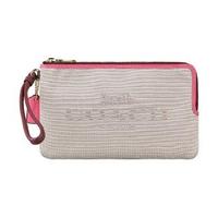 【COACH】COACH 刺繡LOGO緹花6卡雙拉鍊層手拿包(米白x粉紅)